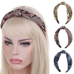 Headband Knotted Tan Snakeskin